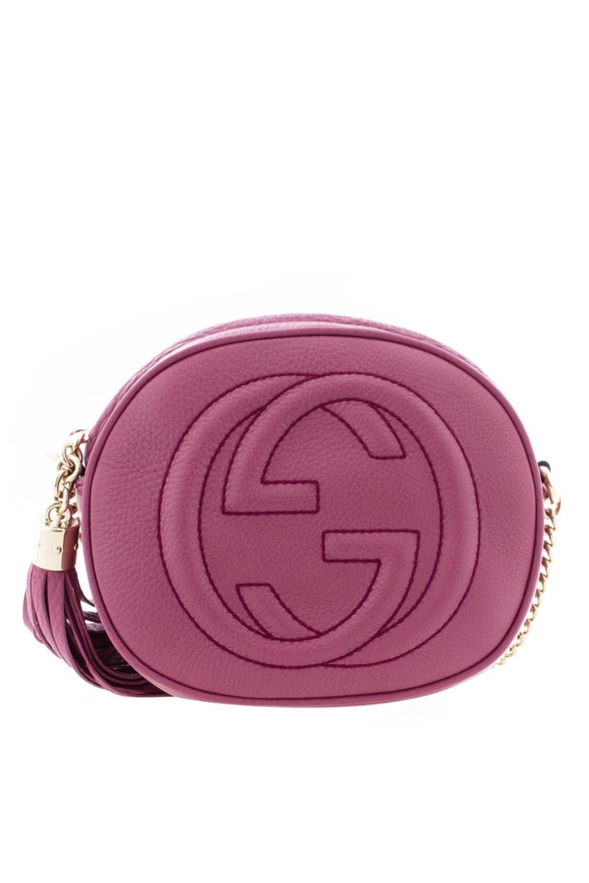Фото - Круглая кожаная сумка Soho от Gucci красного цвета