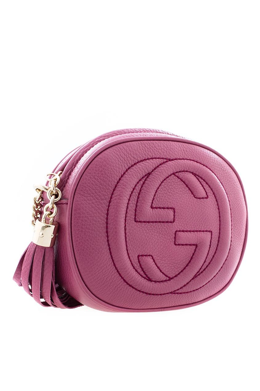 Фото 2 - Круглая кожаная сумка Soho от Gucci красного цвета