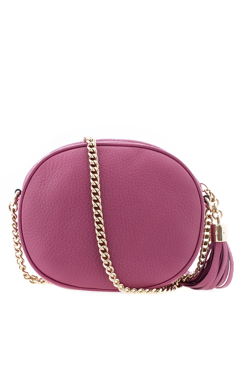 Фото 4 - Круглая кожаная сумка Soho от Gucci красного цвета