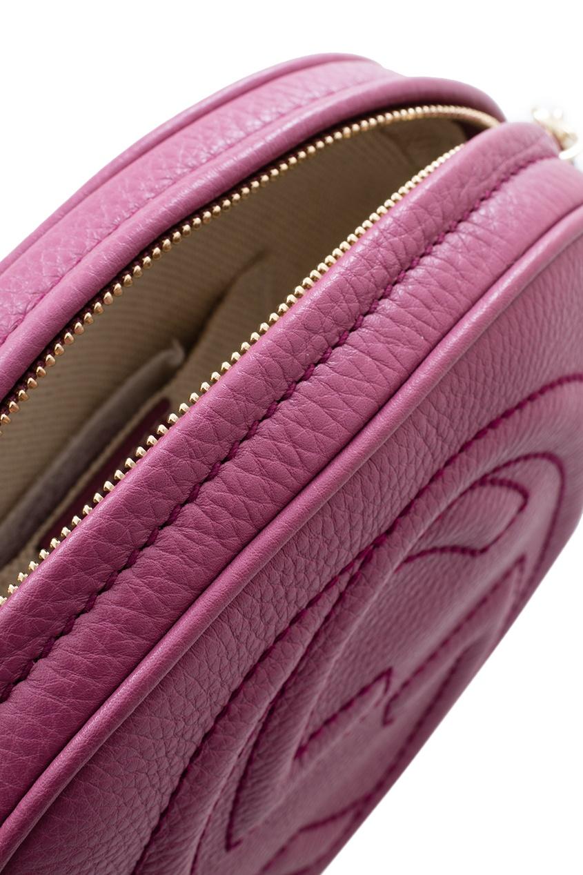 Фото 5 - Круглая кожаная сумка Soho от Gucci красного цвета