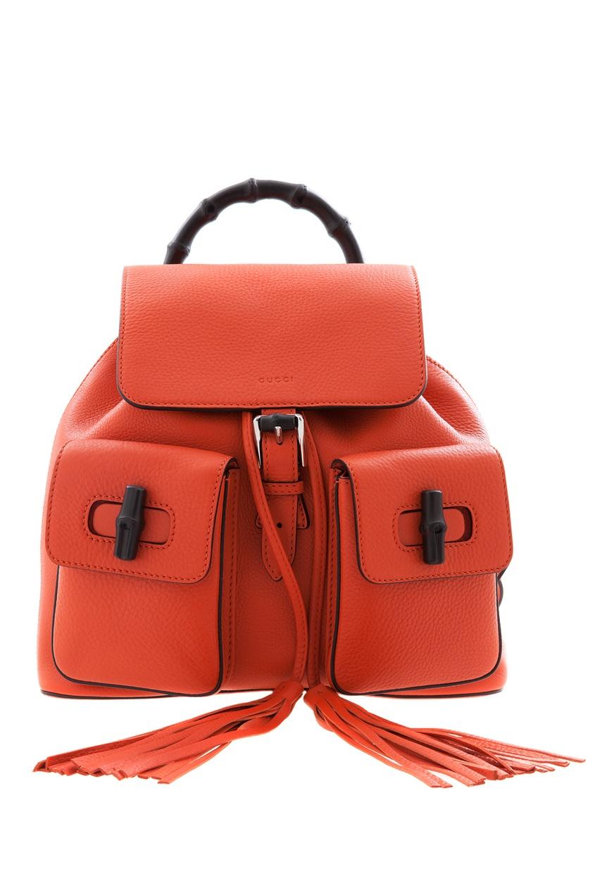 Фото 2 - Кожаный рюкзак Bamboo Leather Backpack от Gucci оранжевого цвета
