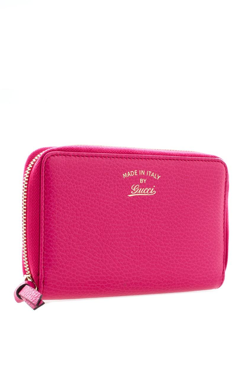 Фото 4 - Кожаный кошелек от Gucci красного цвета