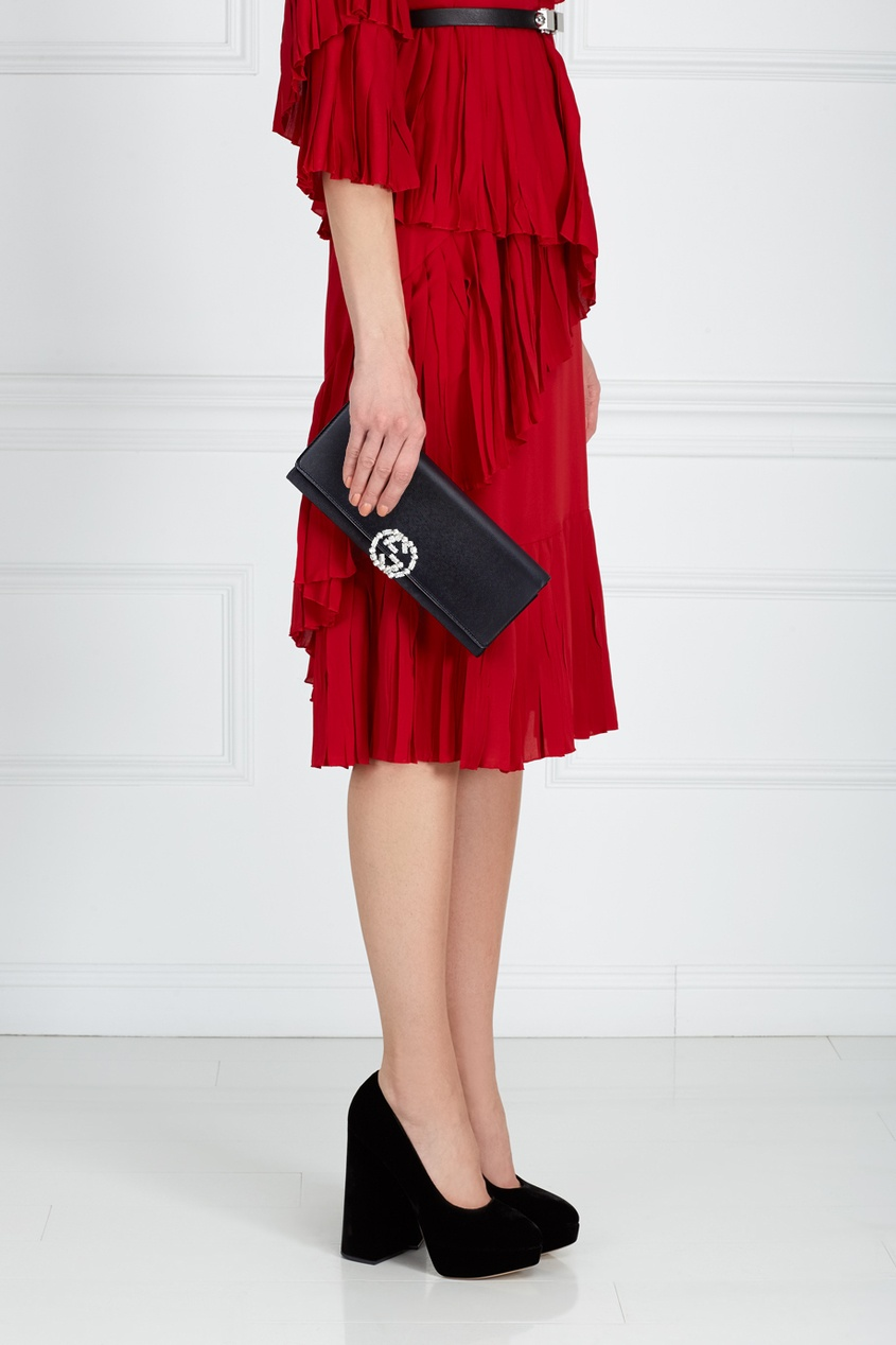 Фото 6 - Кожаный клатч от Gucci цвет multicolor