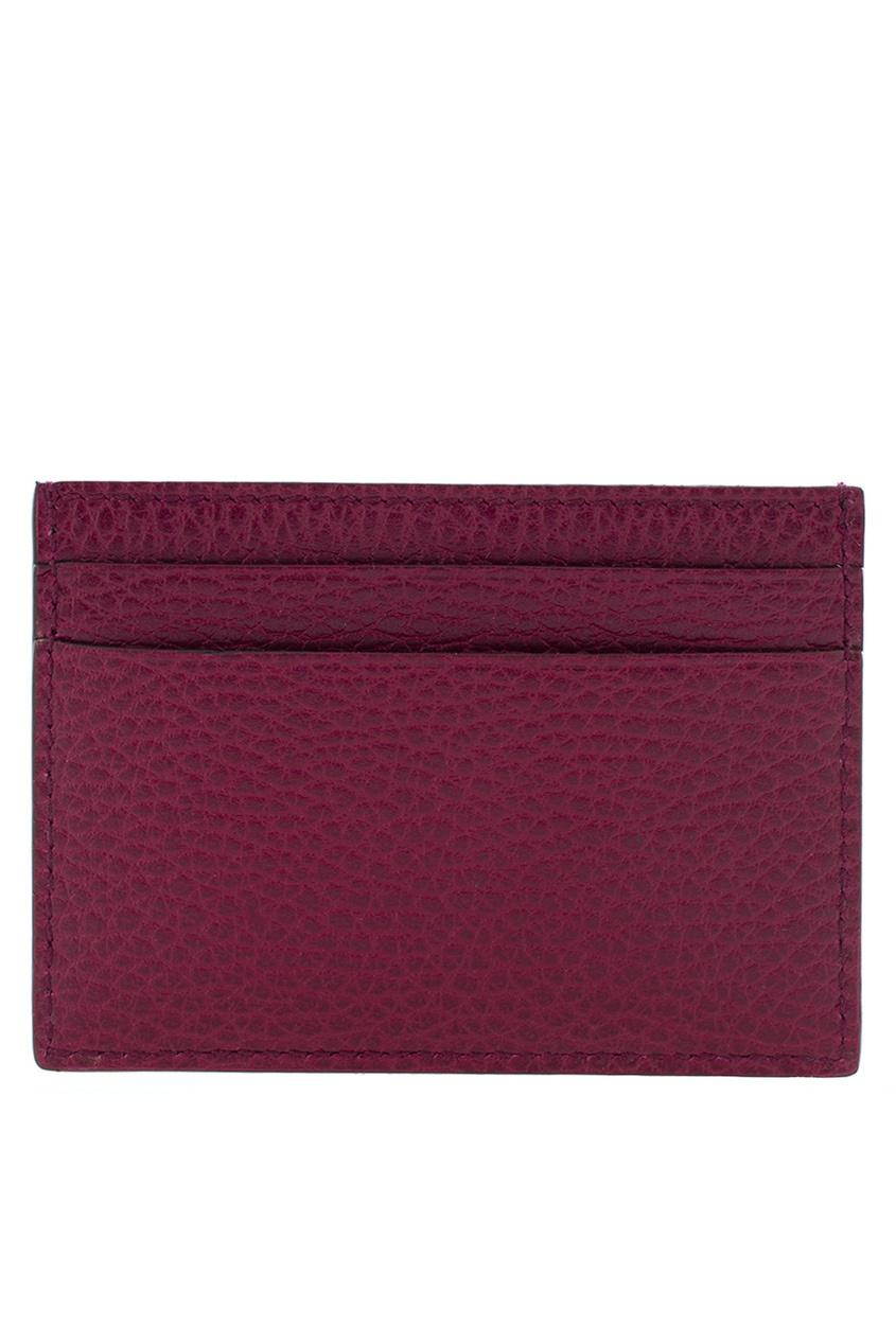 Фото 2 - Кожаная кредитница от Gucci красного цвета