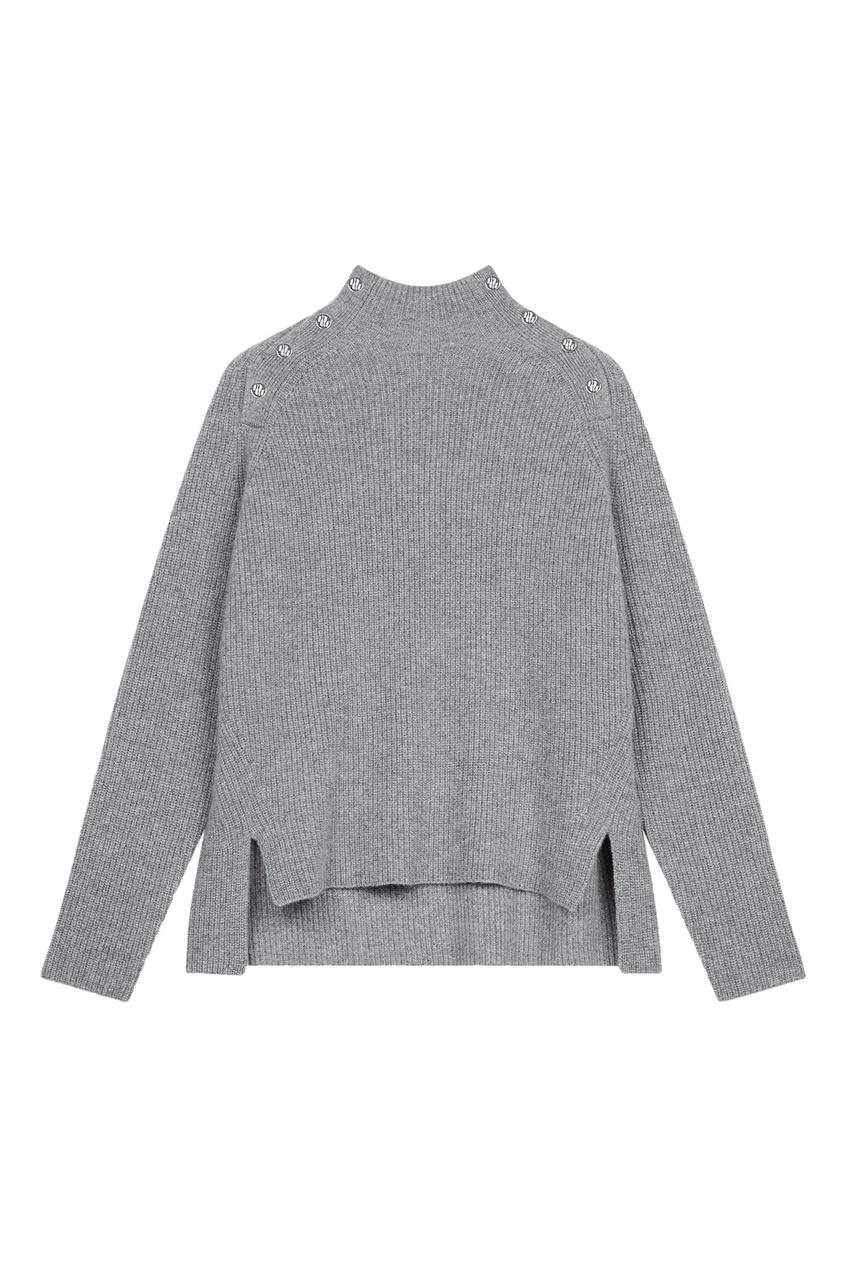 Серый кашемировый свитер с пуговицами