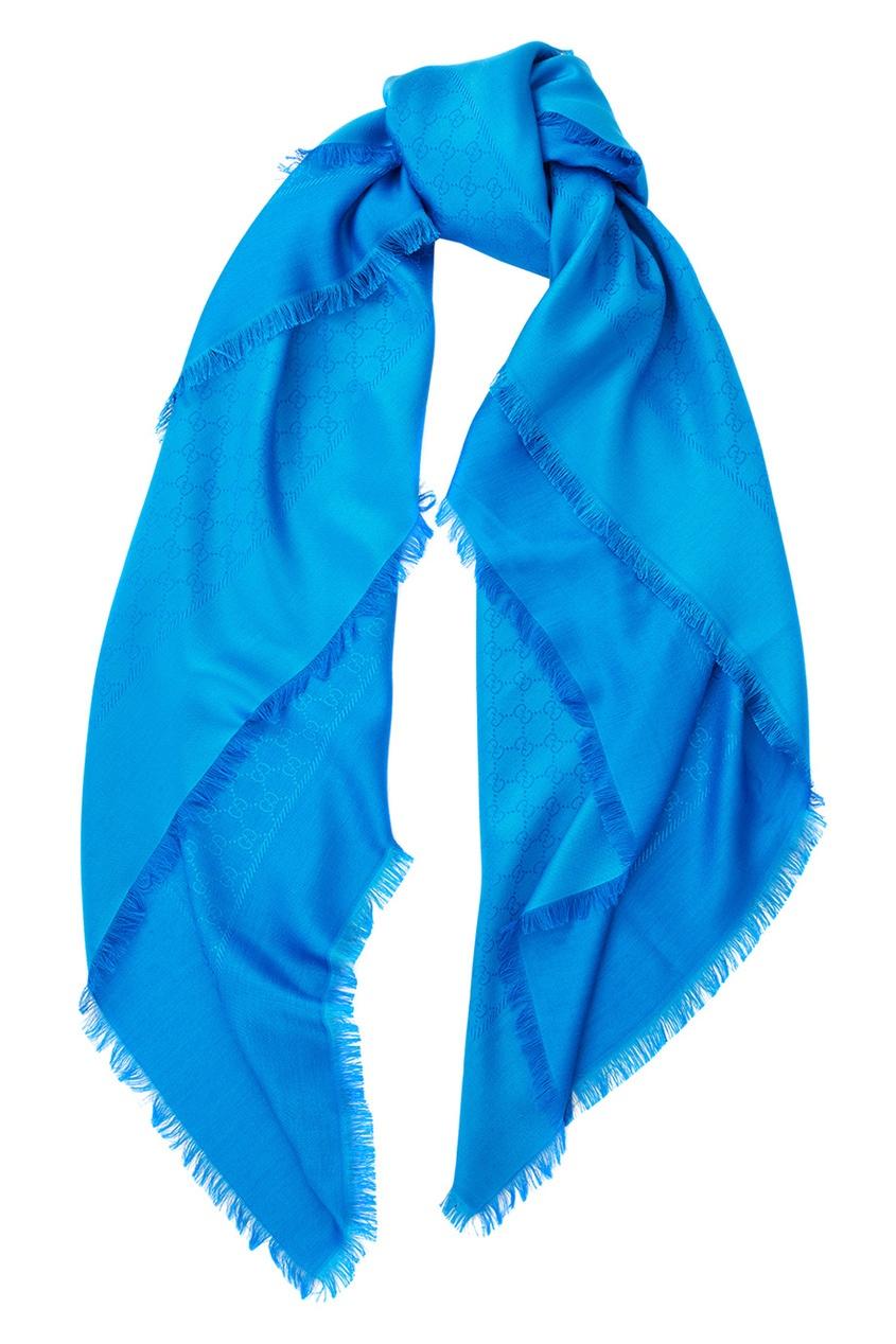Фото 2 - Шаль Silk wool GG jacquard shawl от Gucci синего цвета