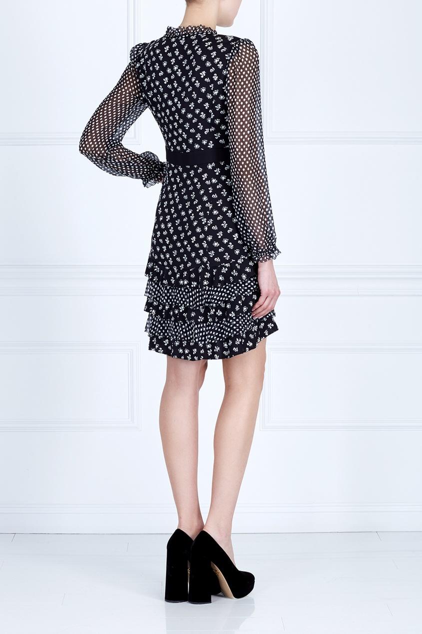 Фото 4 - Платье с принтом черно-белого цвета