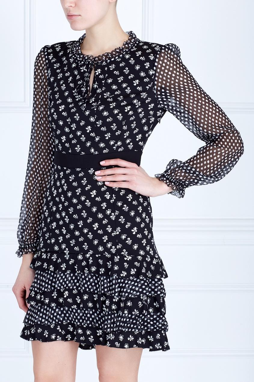 Фото 5 - Платье с принтом черно-белого цвета