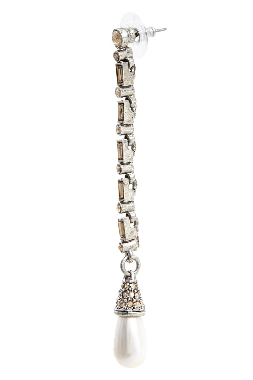 Фото 3 - Серьги-подвески от Oscar de la Renta серебрянного цвета