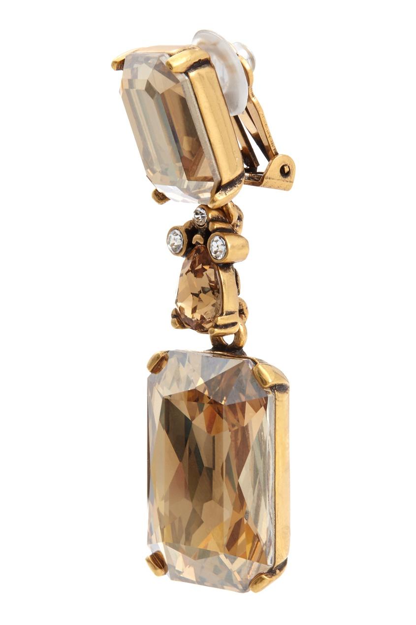 Фото 3 - Серьги с кристаллами Swarovski от Oscar de la Renta золотого цвета