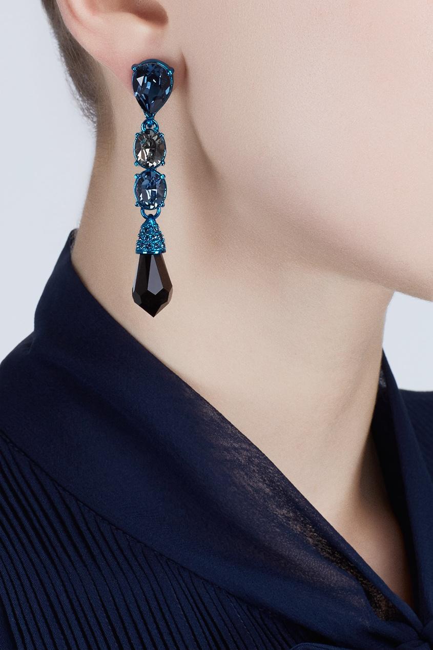Фото - Серьги с кристаллами от Oscar de la Renta синего цвета