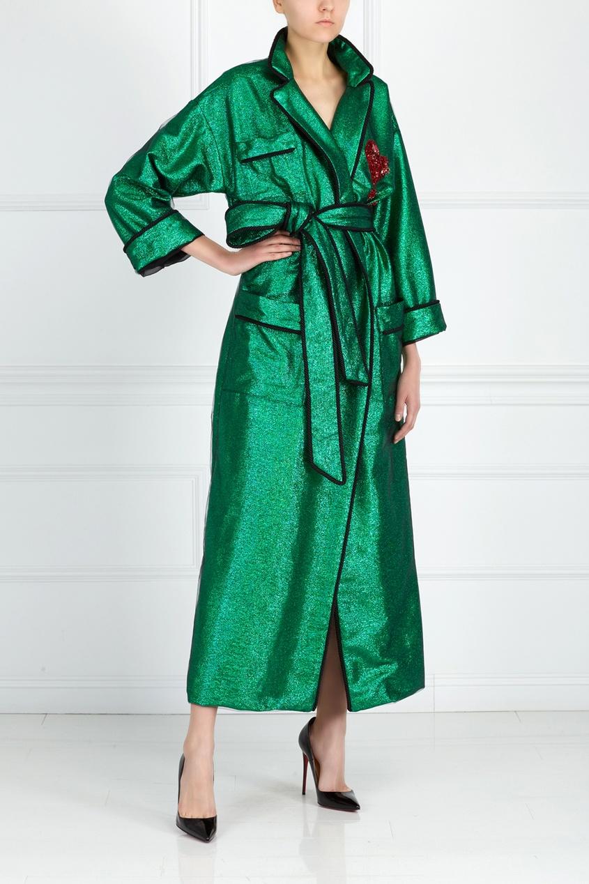 Фото 3 - Шелковый халат от KUZYOMIN зеленого цвета