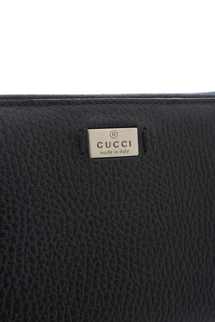 Фото 2 - Кожаный кошелек от Gucci черного цвета