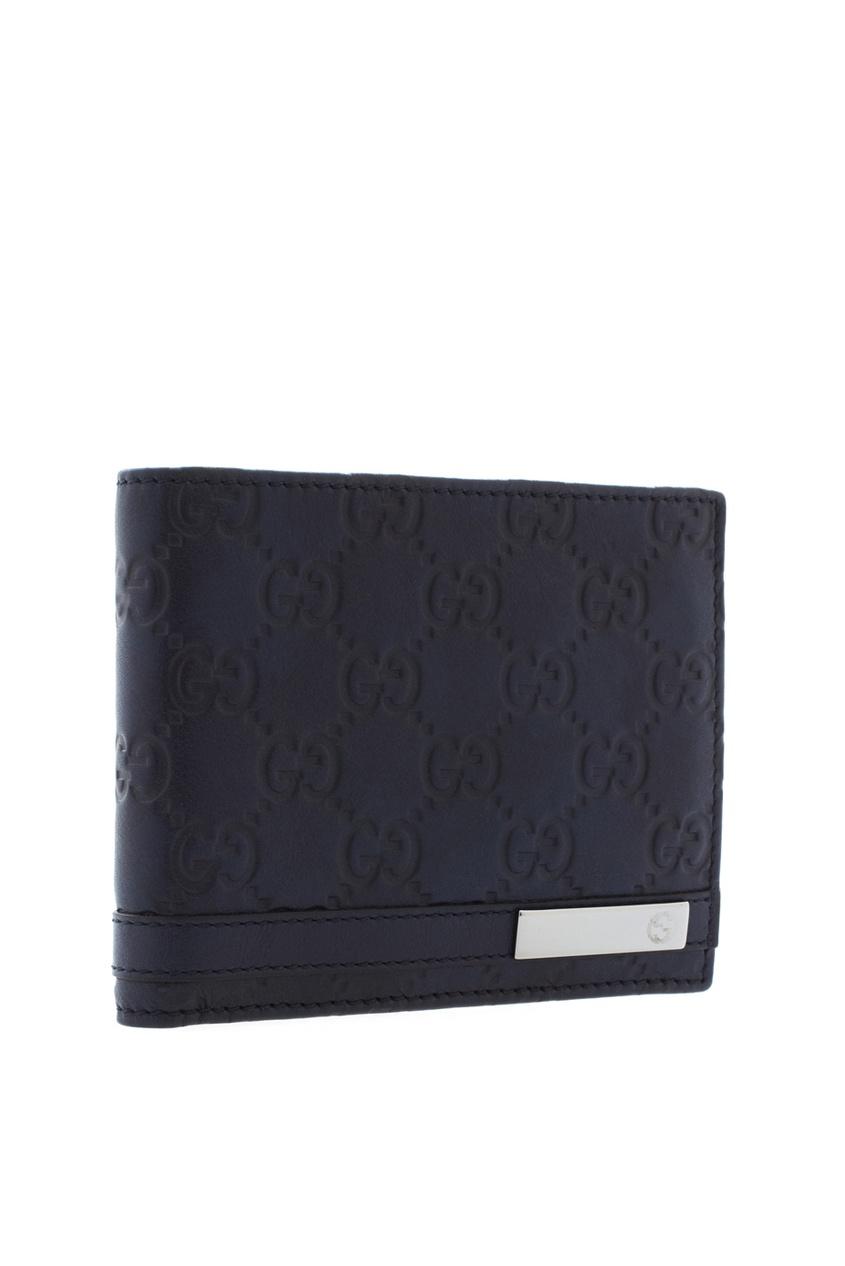 Фото 2 - Кожаный кошелек от Gucci синего цвета