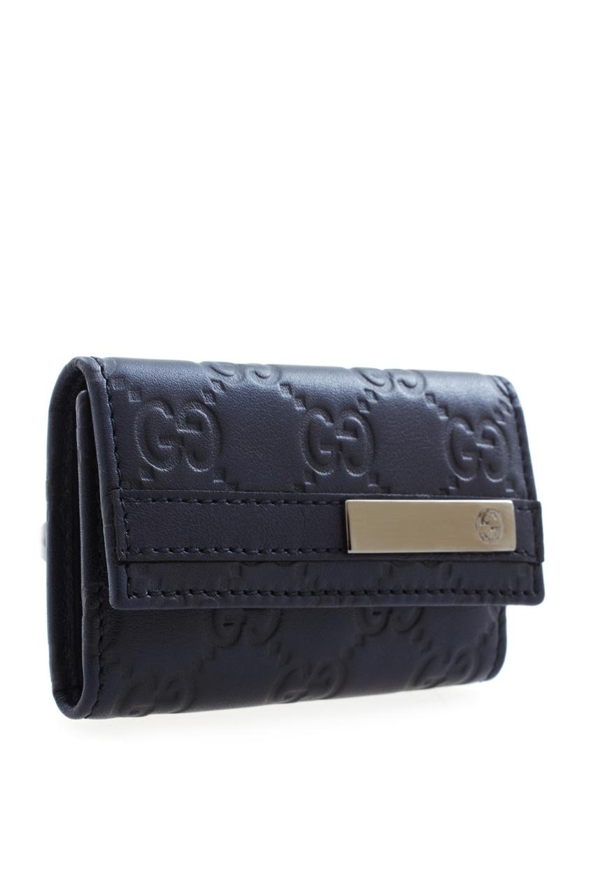 Фото 2 - Кожаная ключница от Gucci черного цвета