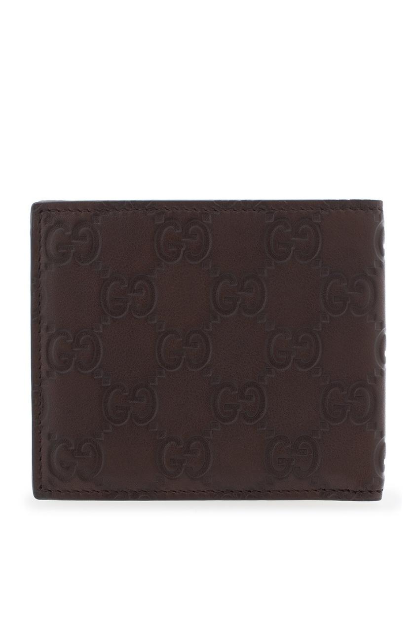 Фото 2 - Кожаный бумажник от Gucci коричневого цвета