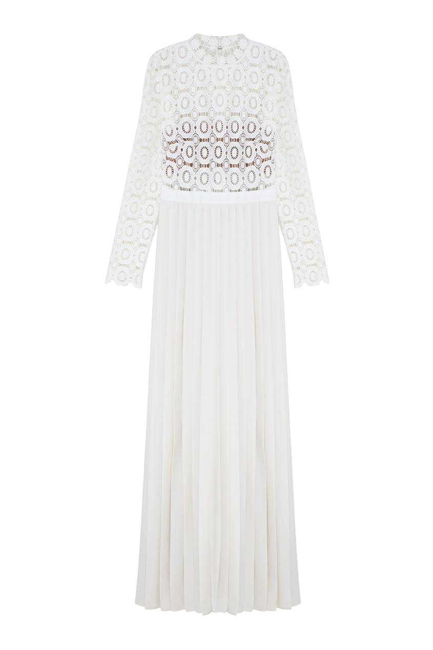 Платье Pleated leated crochet floral