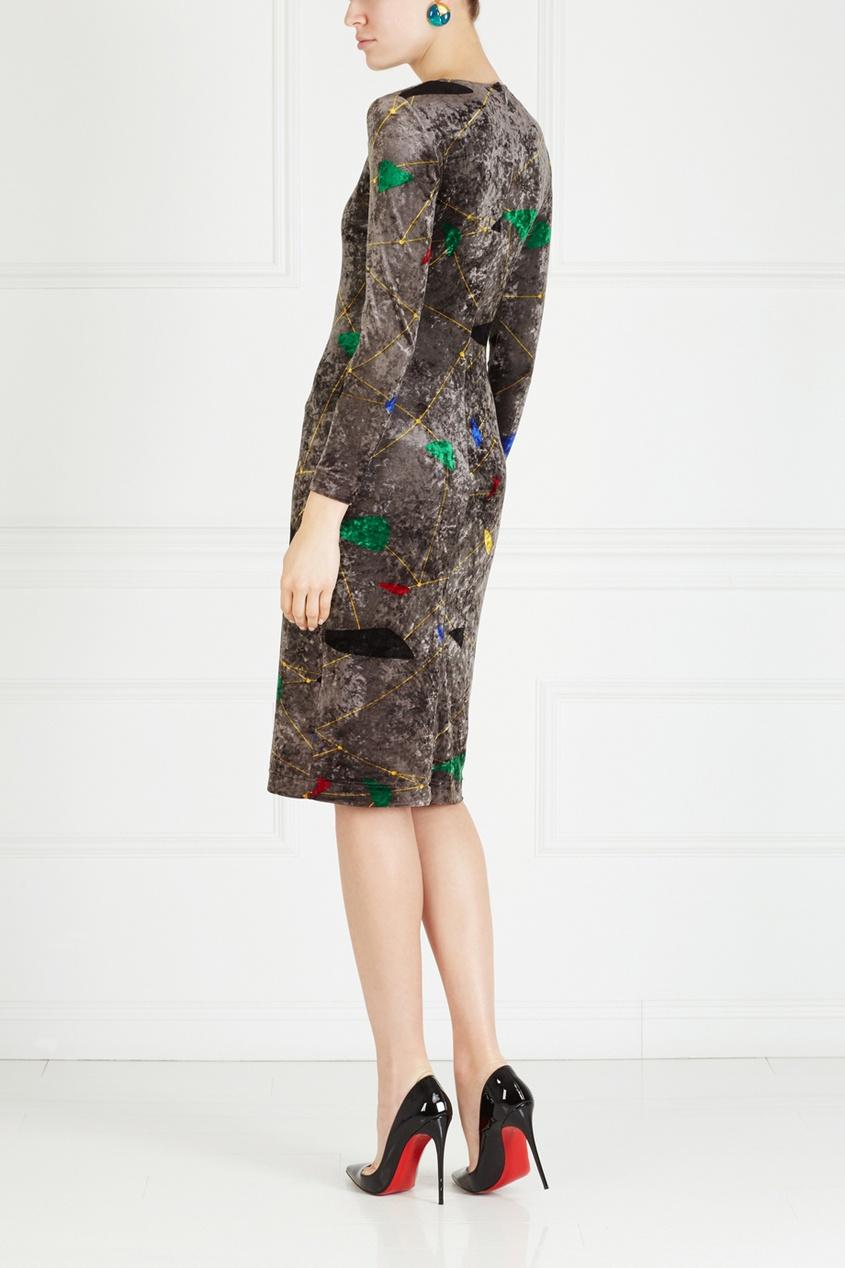 Фото 2 - Платье с принтом (80-е) от Gianni Versace Vintage серого цвета
