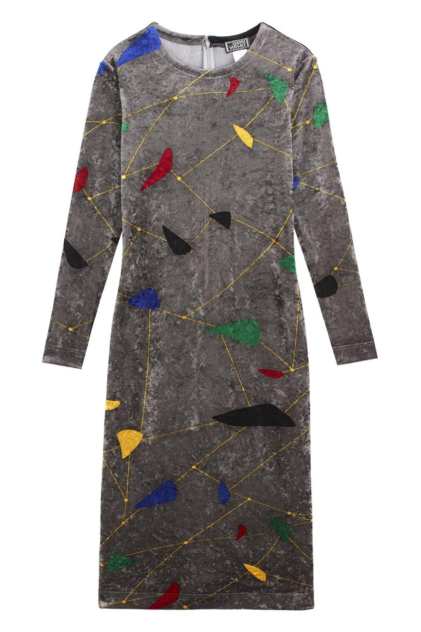 Фото 3 - Платье с принтом (80-е) от Gianni Versace Vintage серого цвета
