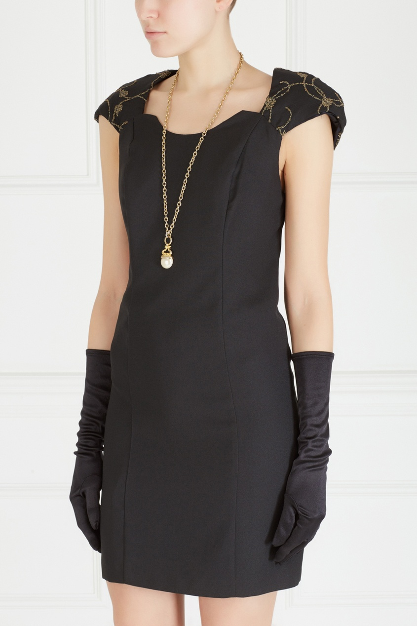 Фото 2 - Однотонное платье (90-е) от Night Way Vintage черного цвета