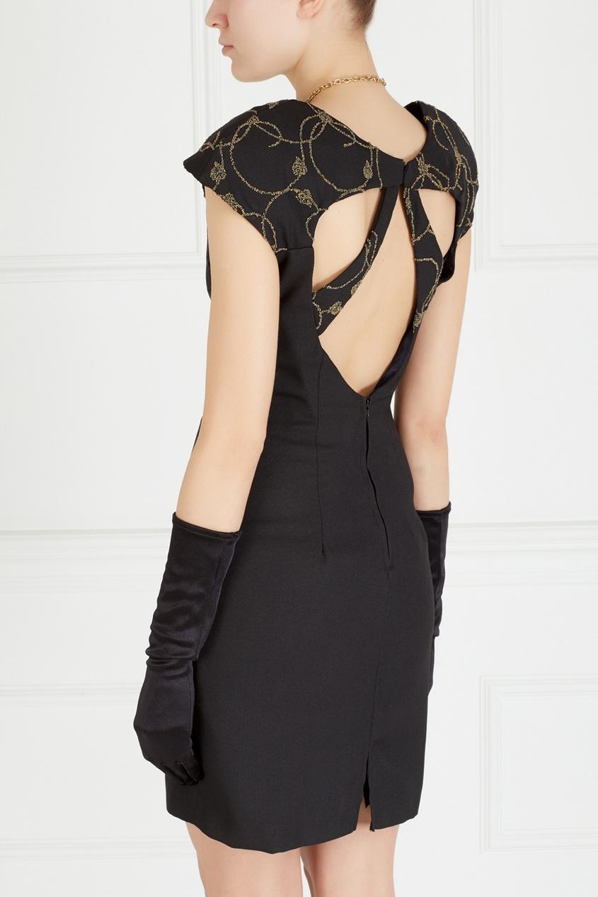 Фото 4 - Однотонное платье (90-е) от Night Way Vintage черного цвета