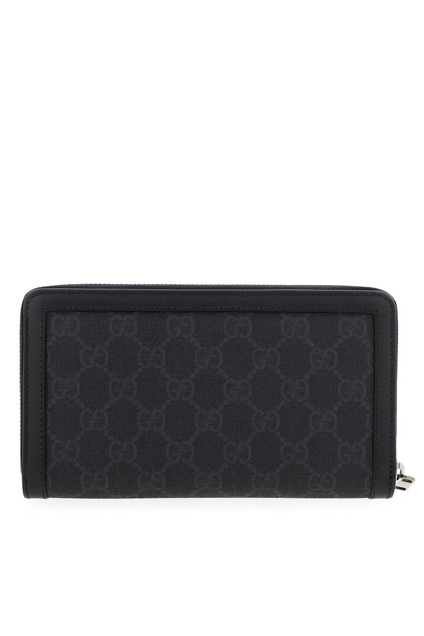 Фото 3 - Кожаный кошелек от Gucci серого цвета