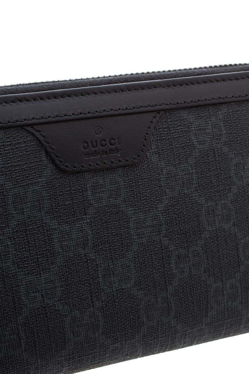 Фото 4 - Кожаный кошелек от Gucci серого цвета