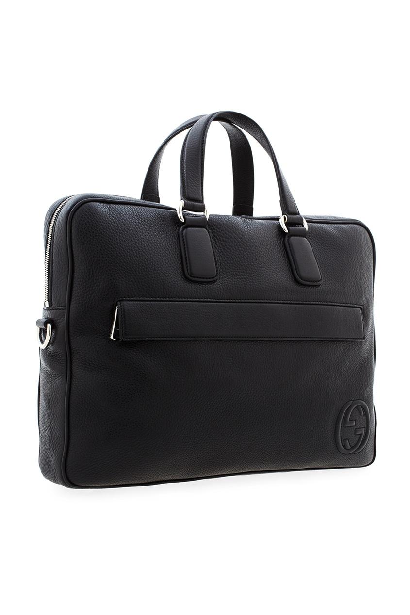 Фото 2 - Кожаная сумка от Gucci черного цвета