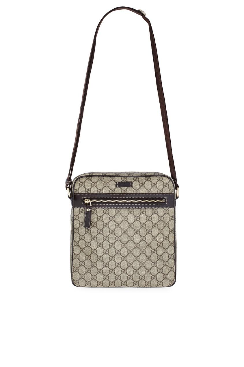 Фото - Кожаная сумка от Gucci бежевого цвета