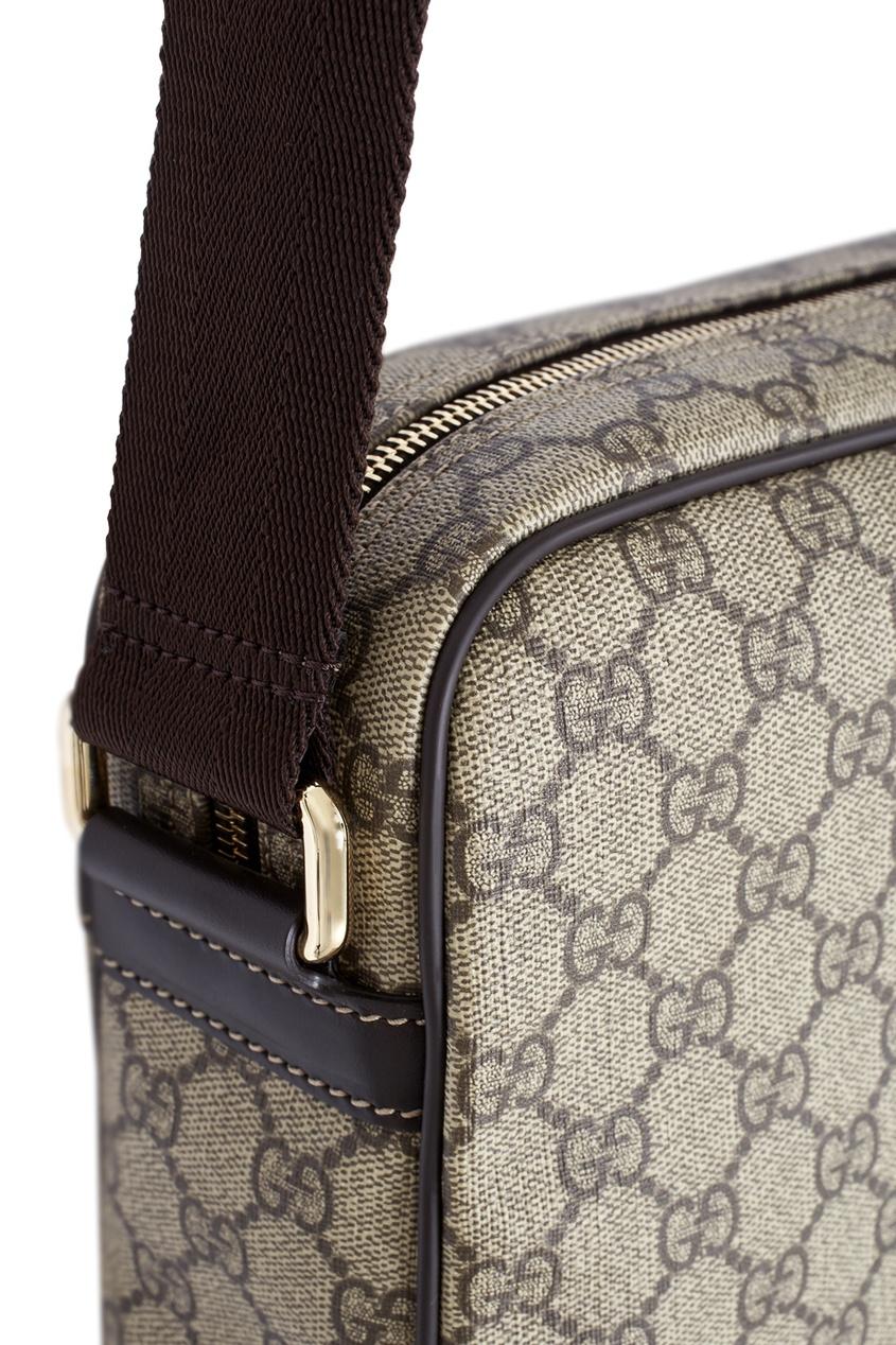 Фото 3 - Кожаная сумка от Gucci бежевого цвета