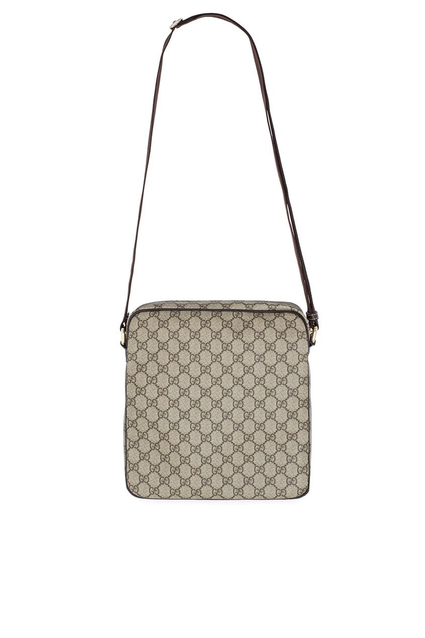 Фото 4 - Кожаная сумка от Gucci бежевого цвета
