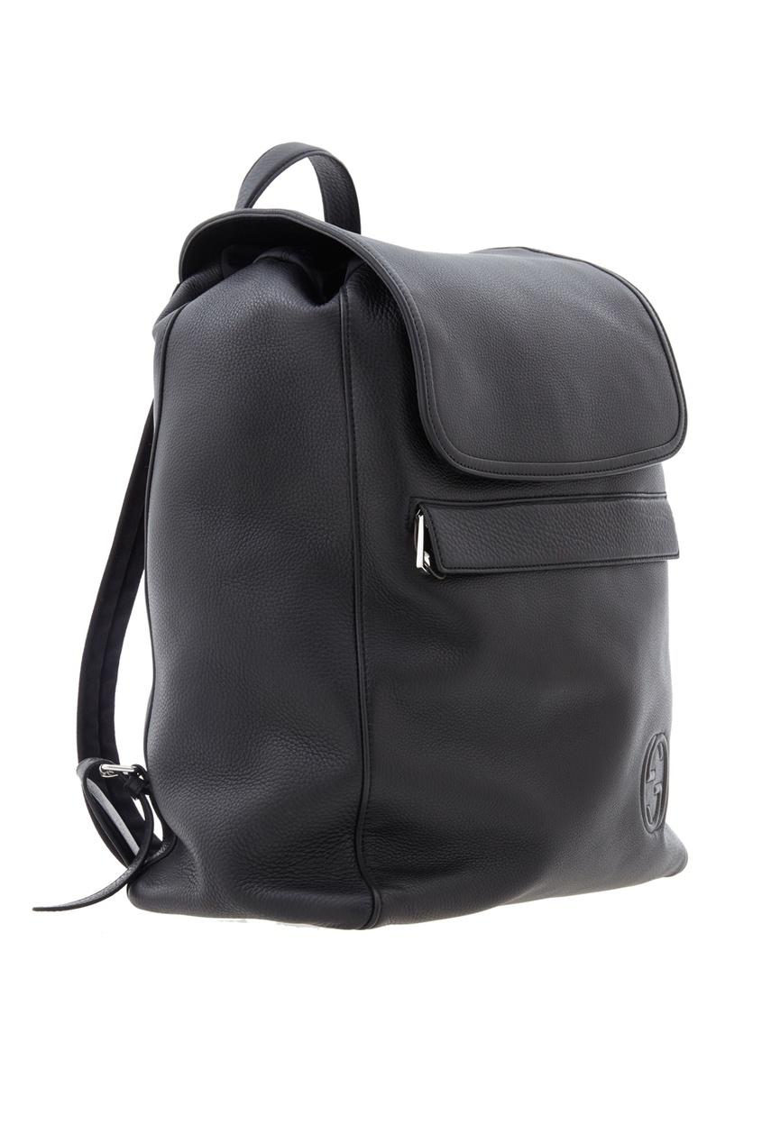 Фото 2 - Кожаный рюкзак от Gucci черного цвета