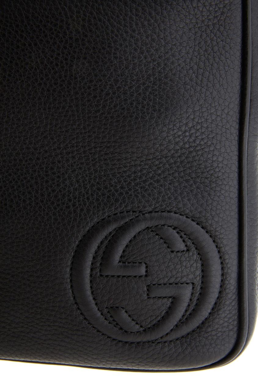 Фото 4 - Кожаная сумка от Gucci черного цвета