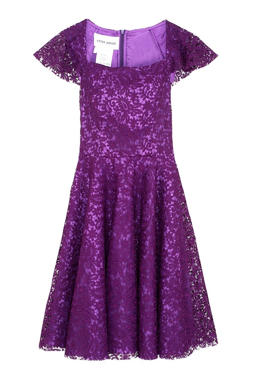 Кружевное платье Ester Abner. Цвет: фиолетовый