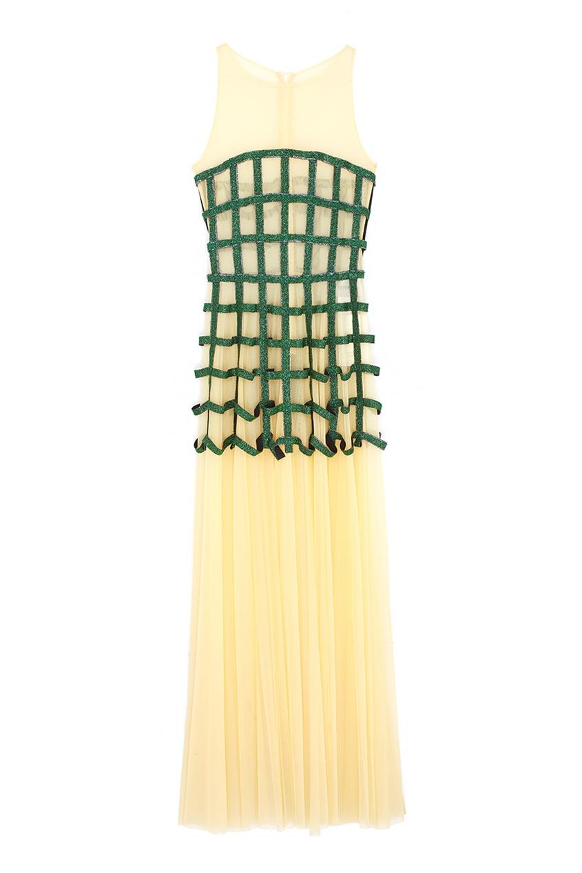 Полупрозрачное платье Ester Abner. Цвет: желтый