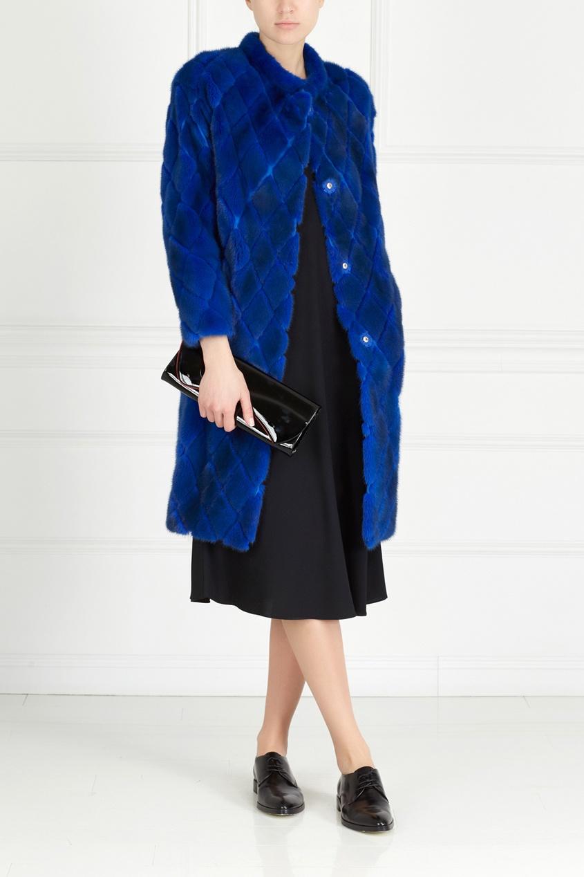 Фото 3 - Норковое пальто «Ромбы» от Color°Temperature синего цвета