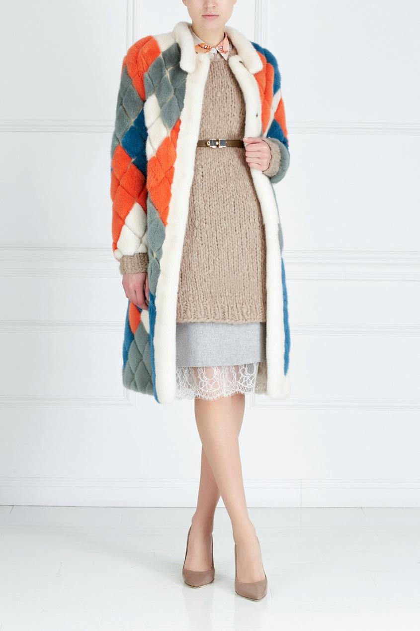 Фото 3 - Норковое пальто «Арлекино» от Color°Temperature цвет multicolor