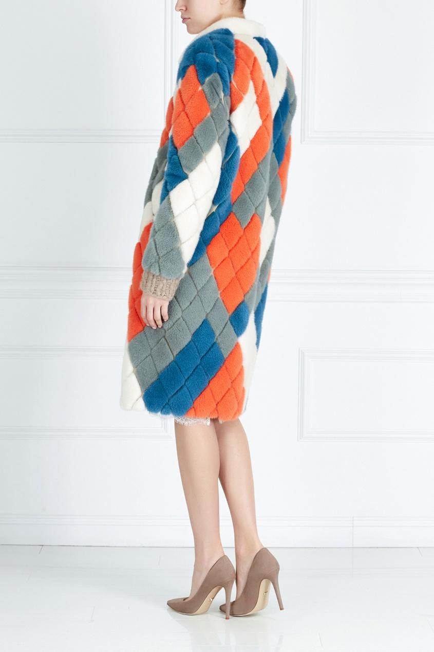 Фото 4 - Норковое пальто «Арлекино» от Color°Temperature цвет multicolor