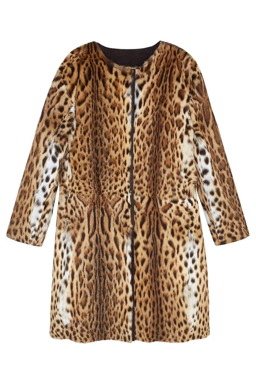 Фото 3 - Пальто из меха оцелота от Color°Temperature коричневого цвета
