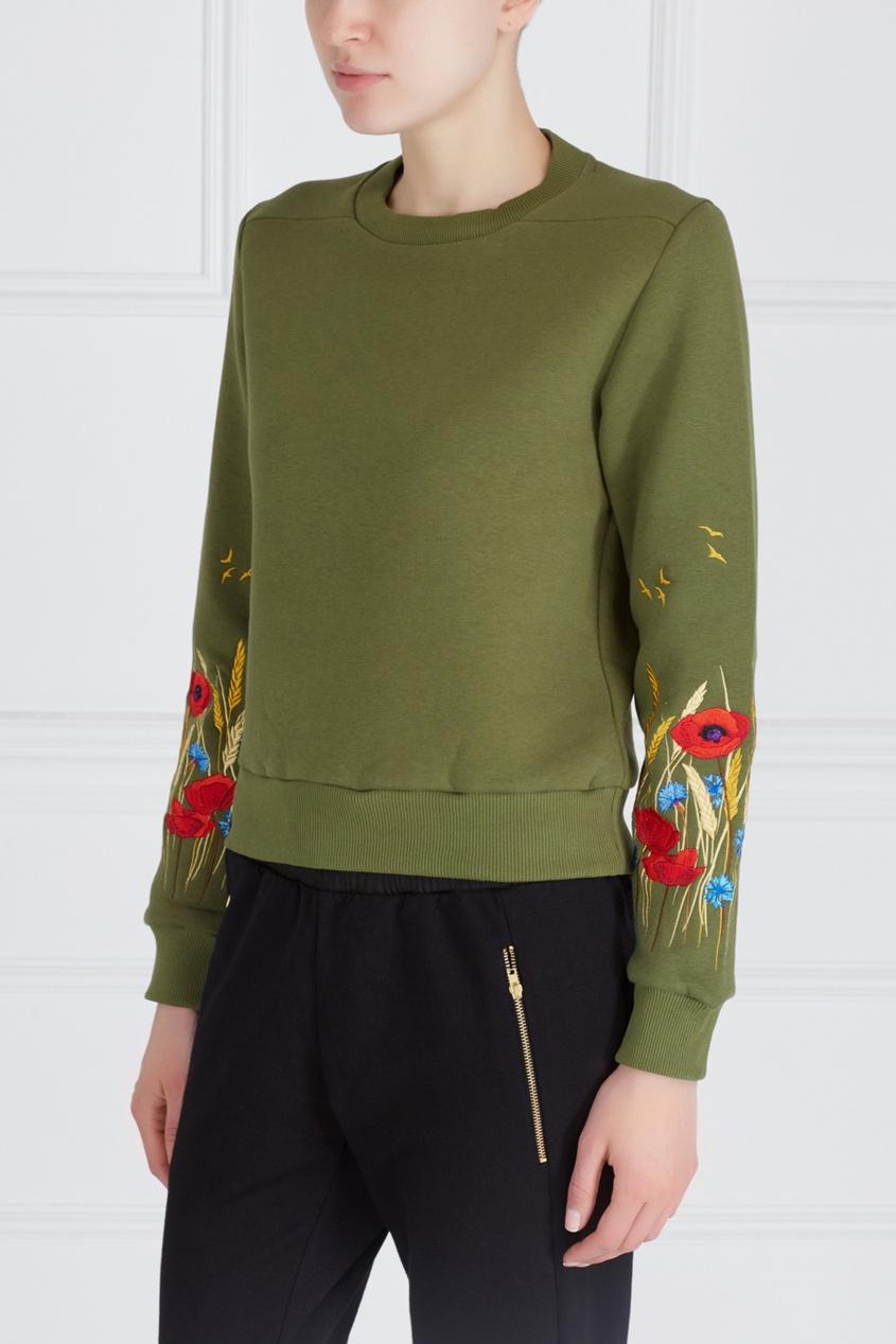 Фото 3 - Хлопковый свитшот Poppy Women зеленого цвета