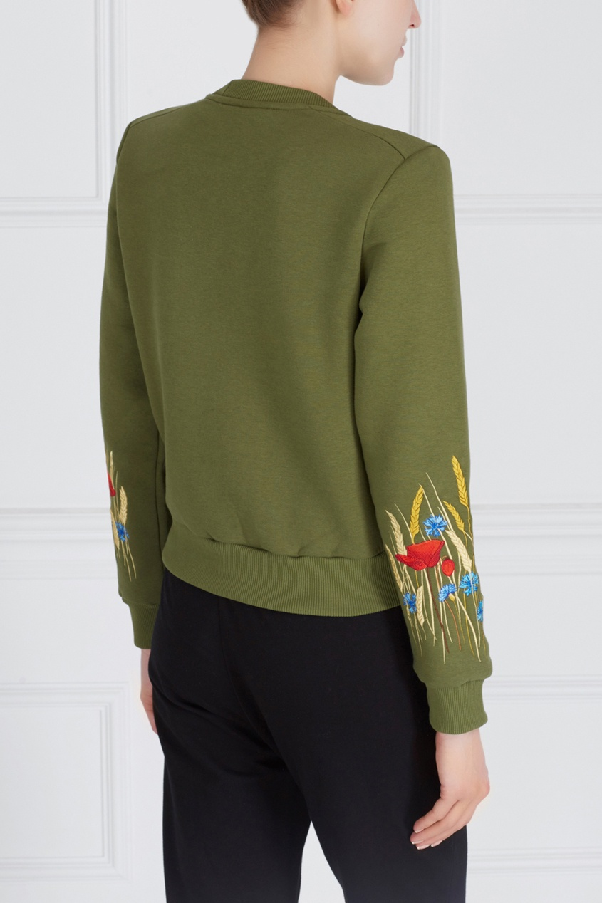 Фото 4 - Хлопковый свитшот Poppy Women зеленого цвета
