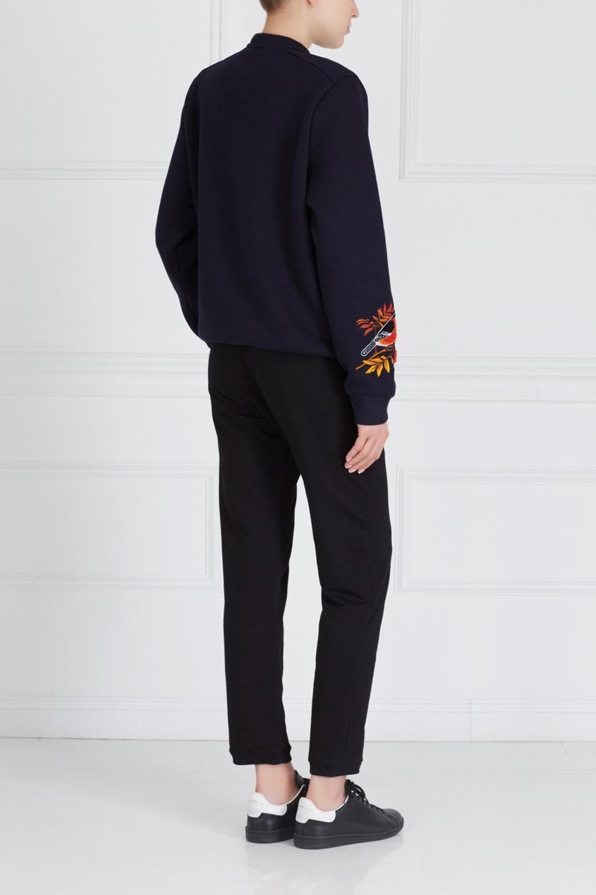 Фото 2 - Хлопковые брюки черного цвета