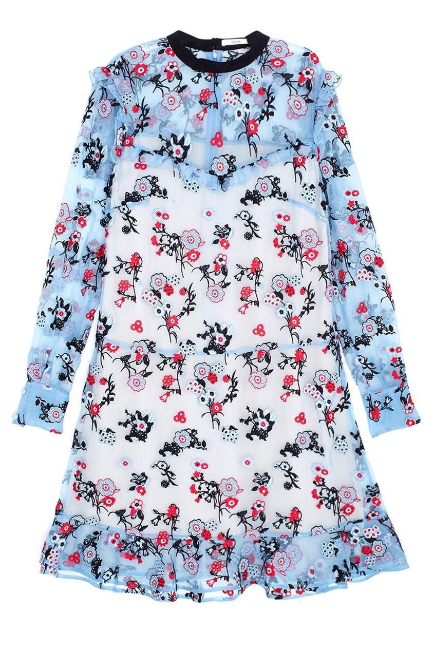 Шелковое платье с вышивкой Nicky.