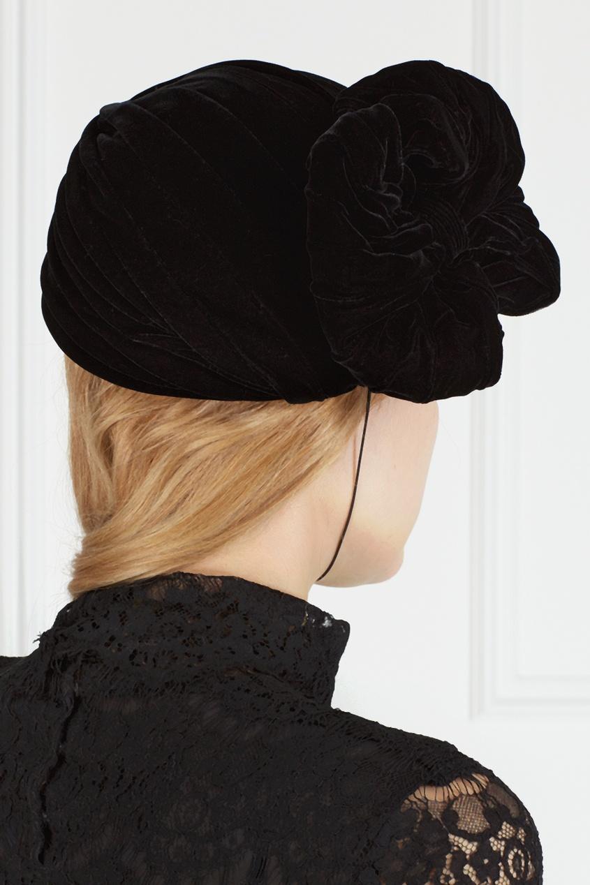 Фото 4 - Тюрбан из бархата (70е) от Oscar de la Renta Vintage черного цвета