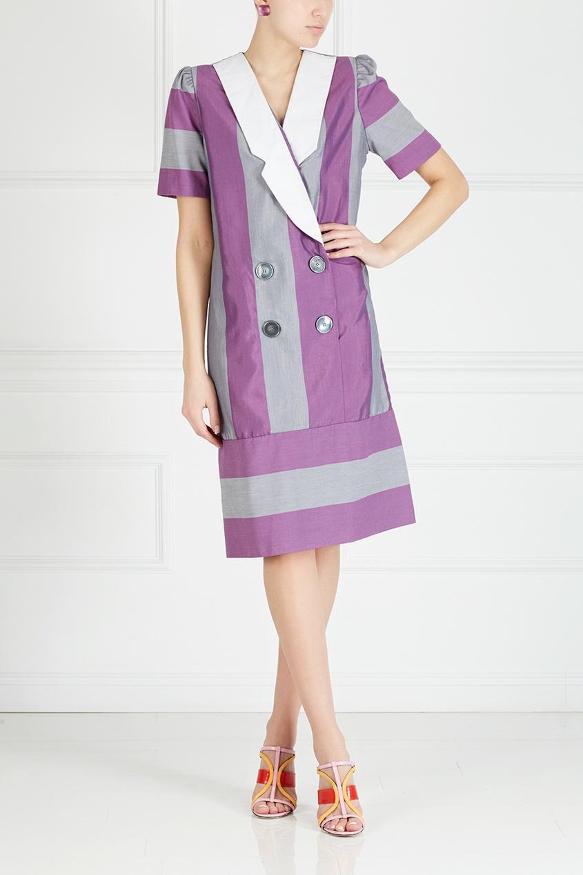 Фото 3 - Платье винтажное (80е) от Leslie Fey Vintage фиолетового цвета