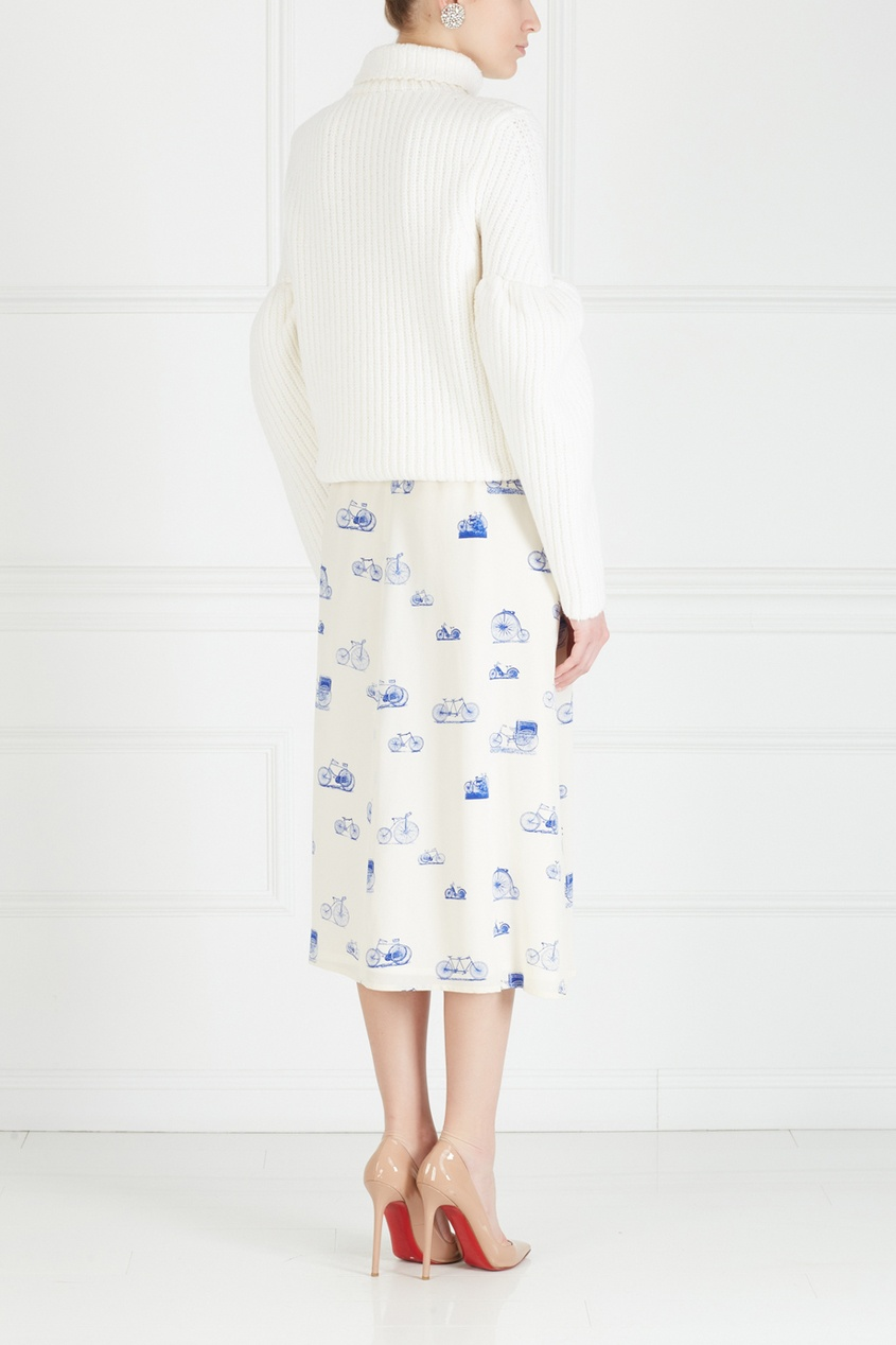 Фото 4 - Юбку винтажная (80e) от Krizia Vintage белого цвета