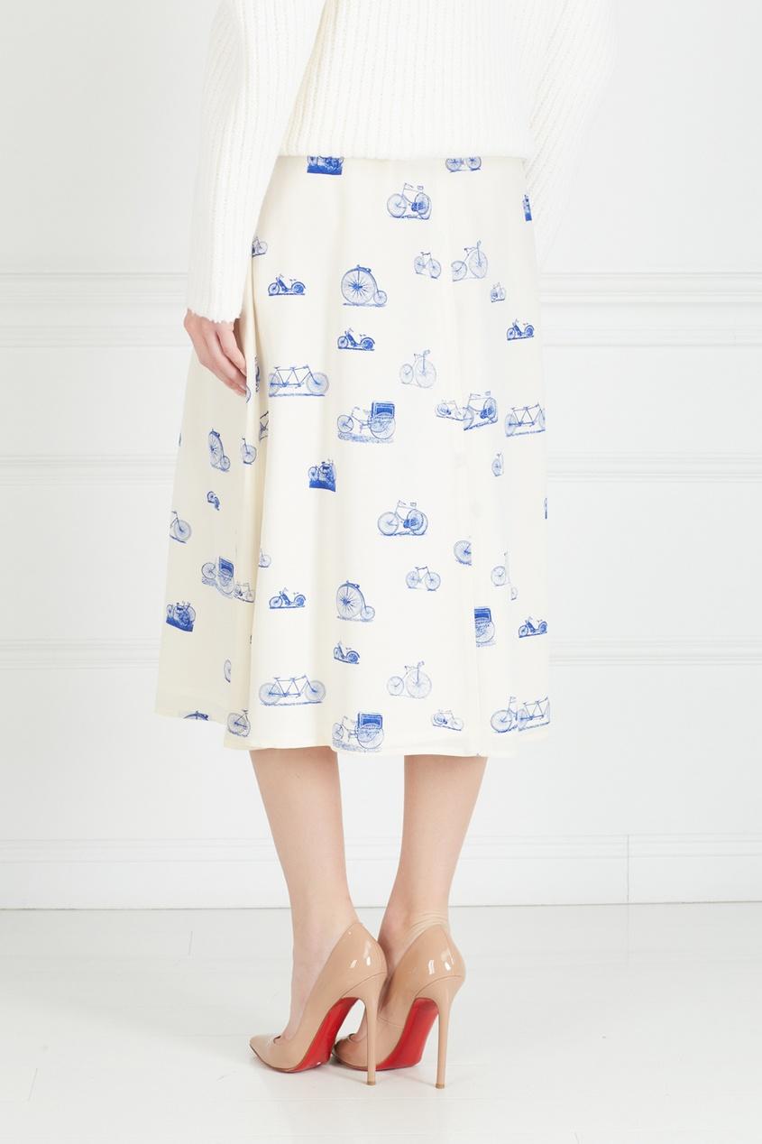 Фото 5 - Юбку винтажная (80e) от Krizia Vintage белого цвета