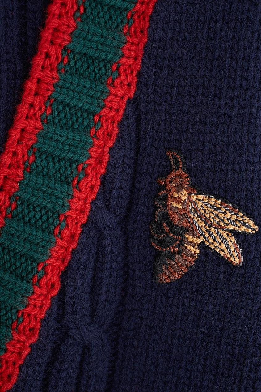 Фото 2 - Шерстяной кардиган от Gucci черного цвета