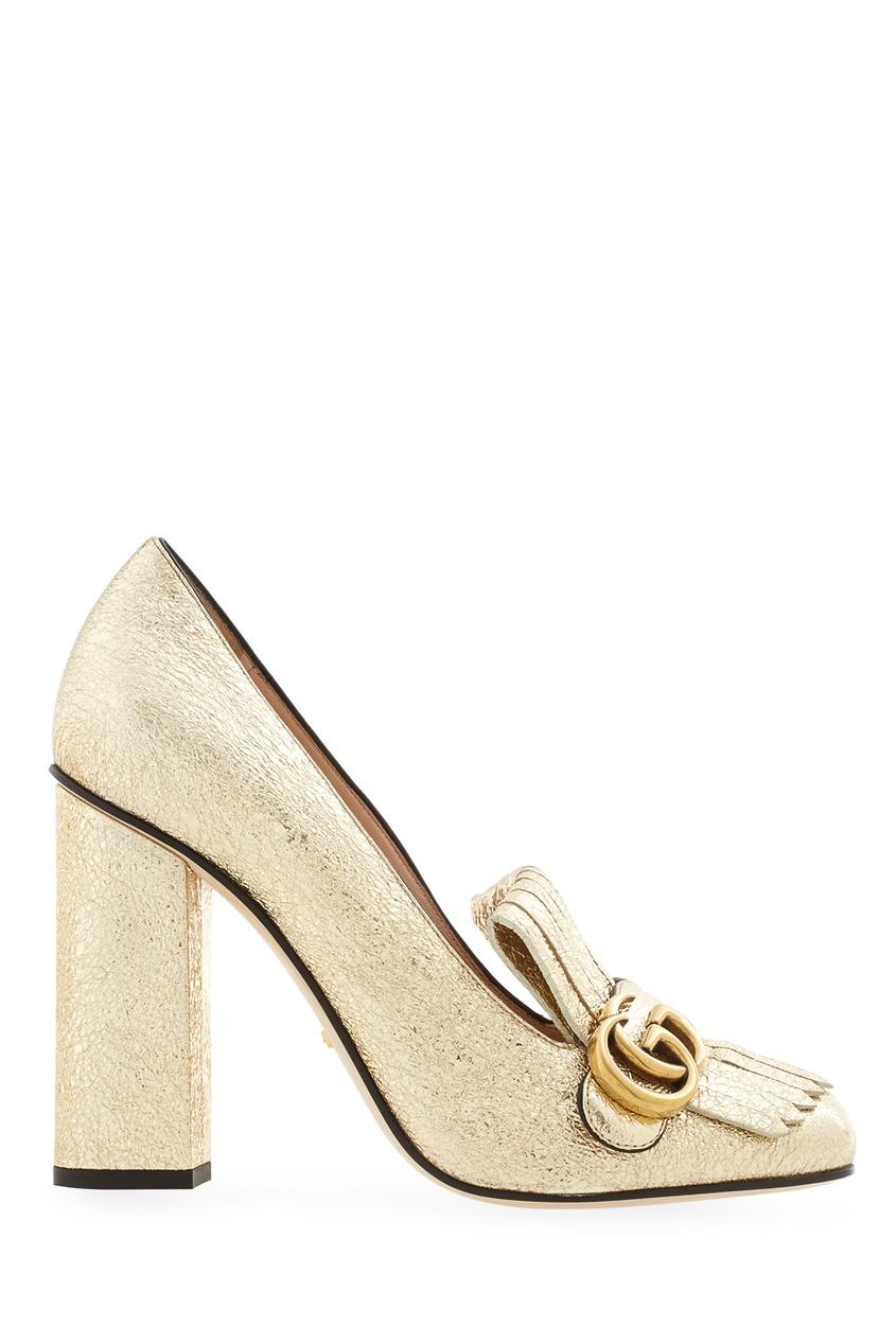Фото 2 - Туфли из металлизированной кожи от Gucci золотого цвета
