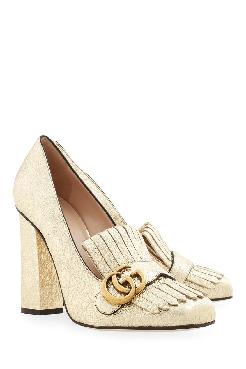 Фото 3 - Туфли из металлизированной кожи от Gucci золотого цвета
